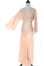 1940s Bias Cut Vintage Peach Silk Nightgown at Dressing Vintage