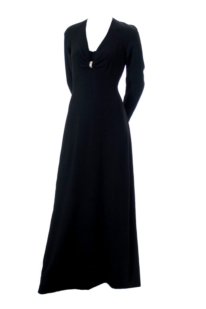 Nina Ricci black wool crepe 1970s evening gown