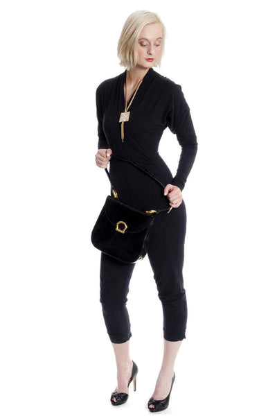 1980's Norma Kamali Vintage Black Jumpsuit with Stirrups