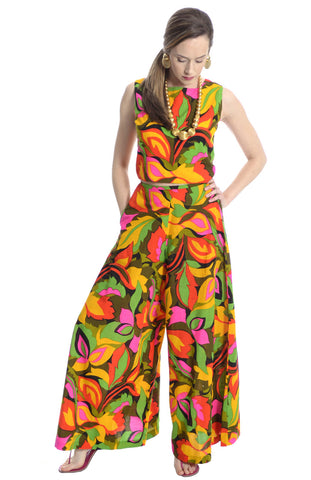 Nora Noh Vintage Black Jumpsuit with Red Abstract Design 8/10