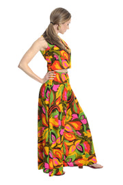 1960's Vintage Palazzo Pants and Crop Top with Tropical Floral Print - Dressing Vintage