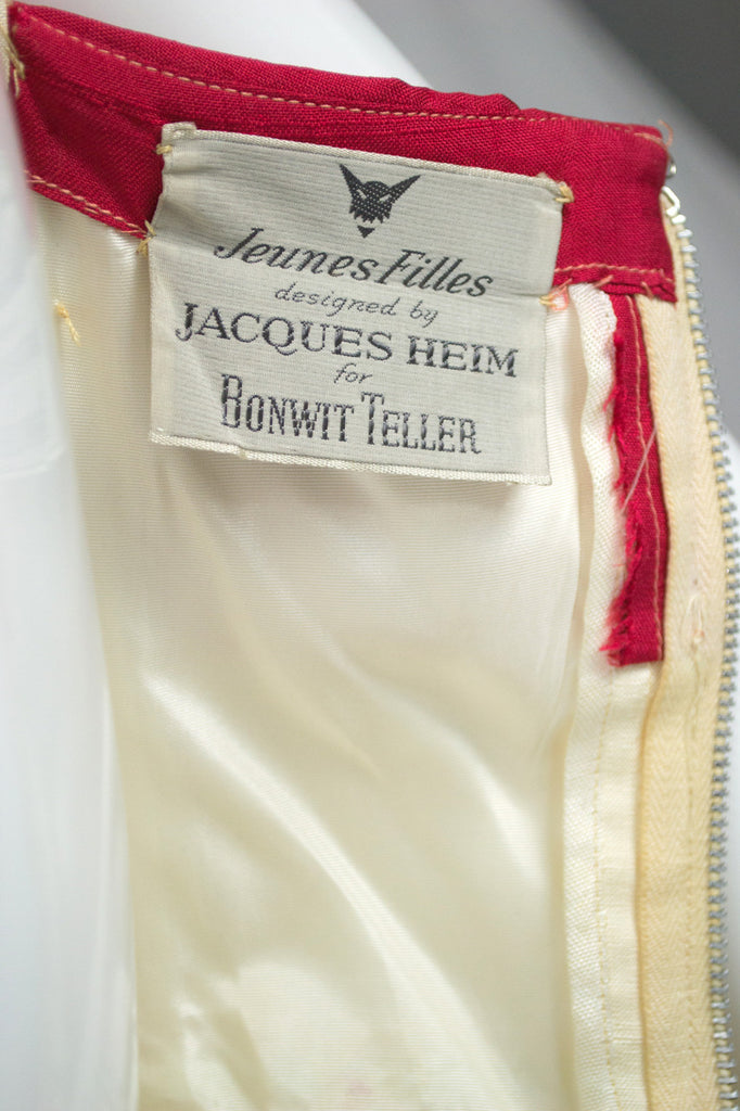 Jacques Heim 1950s Red and Ivory Silk Vintage Party Dress