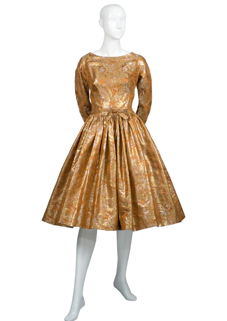 Gold brocade William Pearson designer 1950s vintage dress