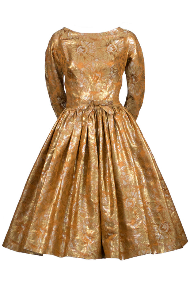 1950s William Pearson Designer Gold Vintage Dress - Dressing Vintage