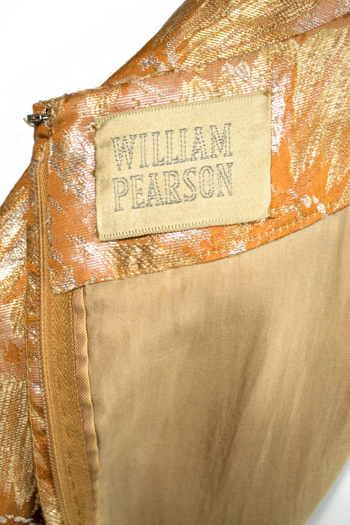 William Pearson designer 1950s vintage dress metallic gold