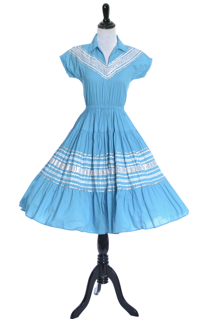 1950s Mexican Patio Dress Turquoise with Silver Trim - Dressing Vintage