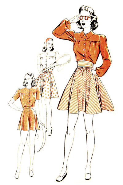 Brenda Marshall Hollywood Pattern 421 UNCUT Playsuit Tennis Skirt 1940s 34B - Dressing Vintage