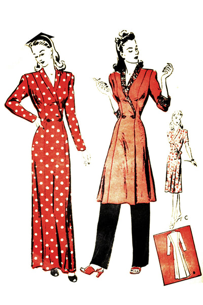 Butterick 2995 Vintage 1940s Pattern Hostess Loungewear 32B - Dressing Vintage