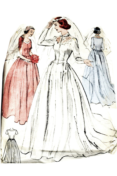 1950s Vintage Wedding Dress Bridesmaid Pattern Butterick 5932 34B - Dressing Vintage