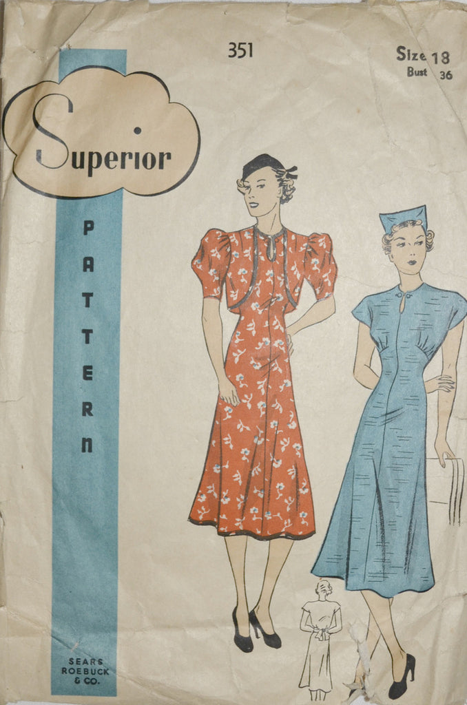 Vintage 1930s Superior Pattern 351 dresses Sears Roebuck