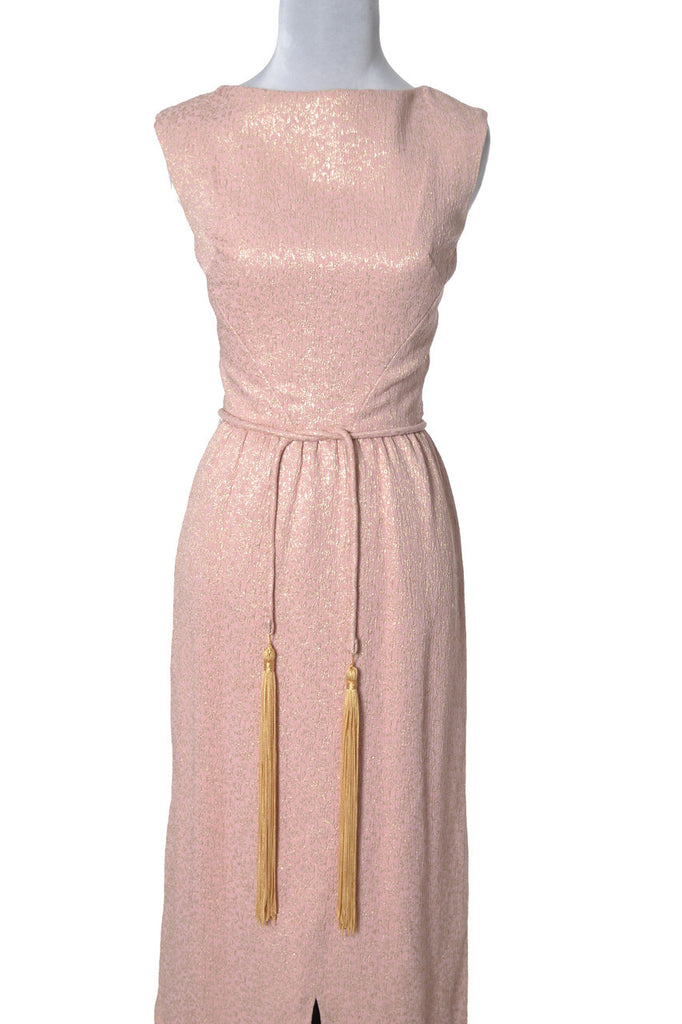 1960's Vintage Dress Pink and Gold Lame Formal Evening Gown - Dressing Vintage