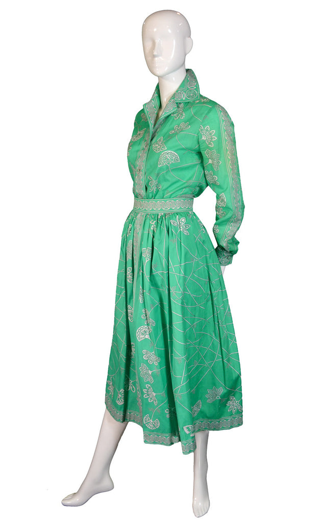 Vintage Emilio Pucci green print 2 pc dress with skirt and blouse ON HOLD - Dressing Vintage