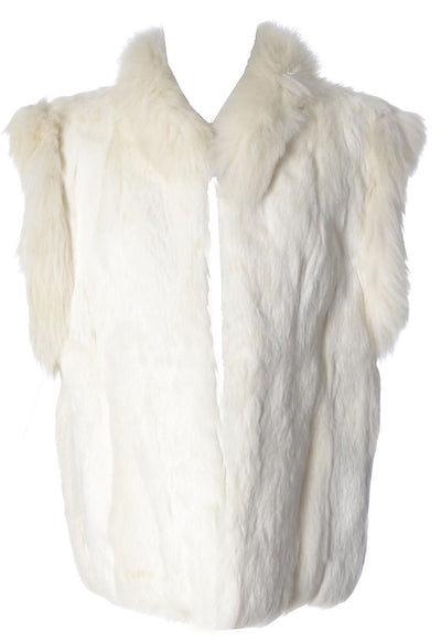 1980's Vintage Luxuriously Soft White Rabbit Fur Vest - Dressing Vintage