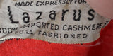 Cherry Red 1950's Lazarus vintage cashmere sweater - Dressing Vintage