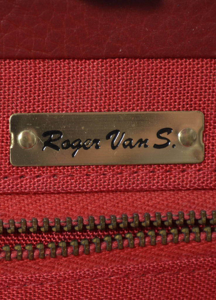 Roger van S red leather vintage handbag purse
