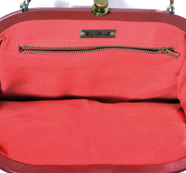 1960's Red Leather Roger Van S Vintage Handbag Purse - Dressing Vintage