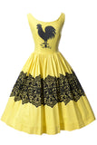 Vintage rooster dress yellow and black