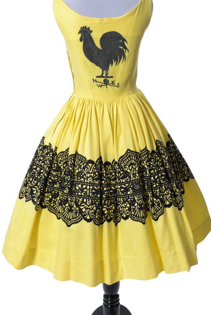 Vintage dress rooster and birds