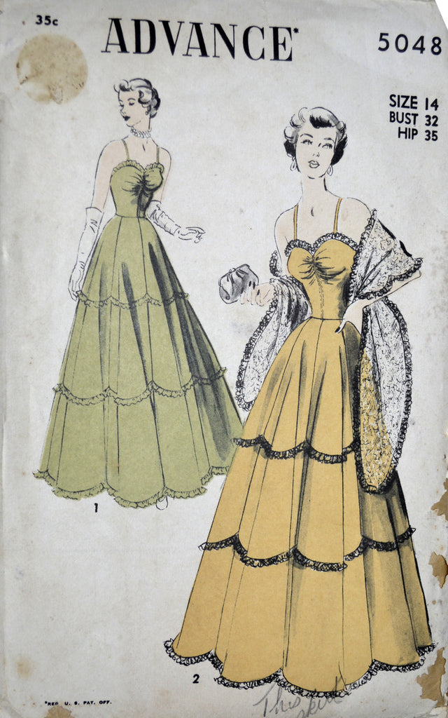 Advance 5048 Vintage 1940s Evening Dress Pattern 32B