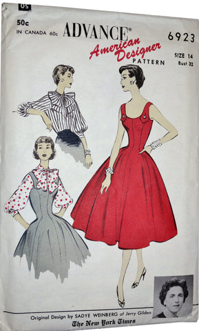 Vintage Advance 6923 pattern Jerry Gilden 1950s dresses 32B UNCUT - Dressing Vintage