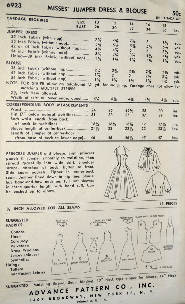 Jerry Gliden Vintage Advance 6923 dress pattern 1950s