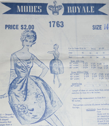 Modes Royale 1763 uncut vintage mail order sewing pattern 1960s dress 34B - Dressing Vintage