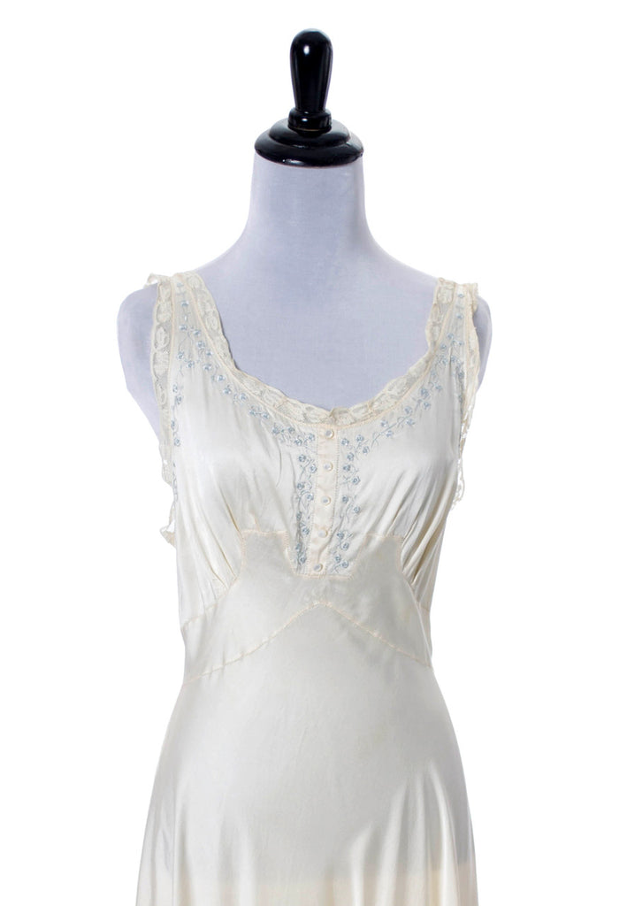 vintage embroidered silk and lace peignoir