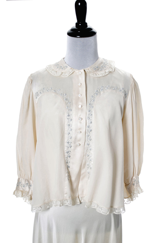 vintage silk embroidered nightgown and bed jacket