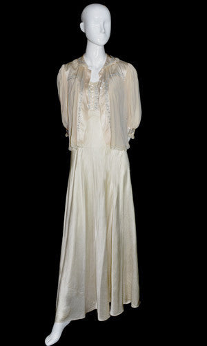 Silk Vintage Nightgown and Bed Jacket with Lace Trim Trousseau - Dressing Vintage