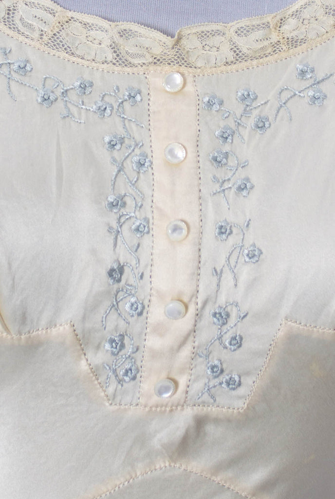 vintage embroidered silk lace nightgown bridal trousseau