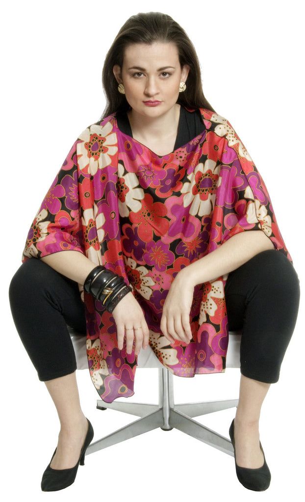 Poncho style silk vintage floral top
