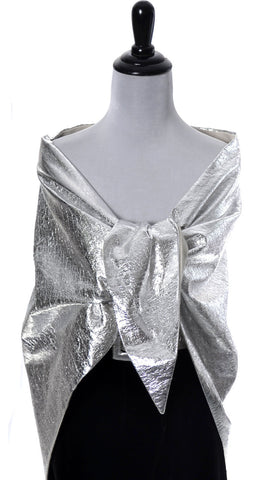 Vintage 1960's Silver Lame Wrap and rhinestone belt - Dressing Vintage