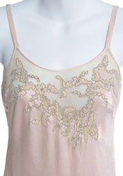 1930's Pink Silk Vintage Nightgown or Slip Lace Net Applique - Dressing Vintage