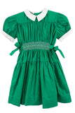 Miller Frock's 1950s girl's green hand smocked dress - Dressing Vintage