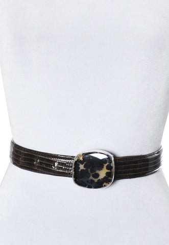 Vintage Stephen Dweck one of a kind sterling silver Spotted Moonstone buckle on lizard belt - Dressing Vintage