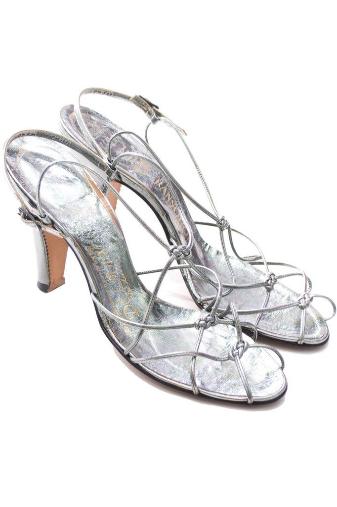 late 1940s early 1950s Delman De Luxe metallic silver vintage shoes