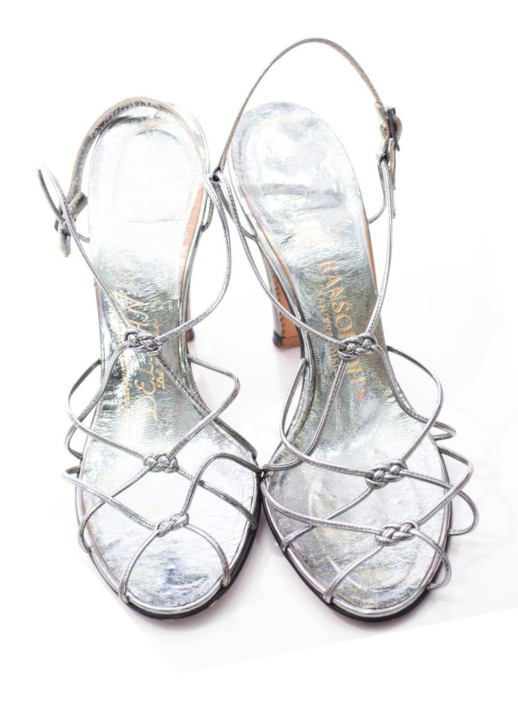Strappy silver vintage late 40s early 50s Delman shoes