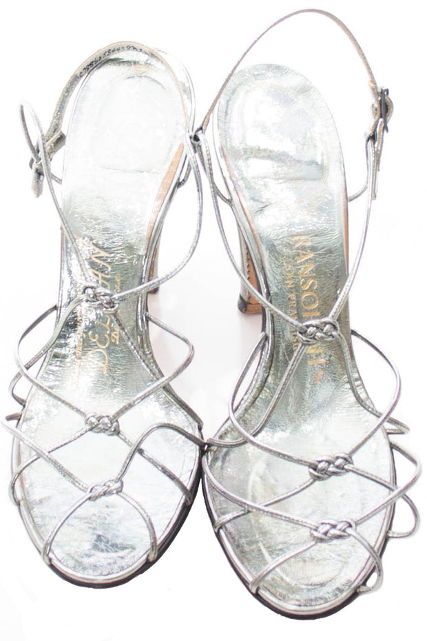 Vintage Delman De Luxe metallic strappy sandal party heels 7 or 7.5 M - Dressing Vintage