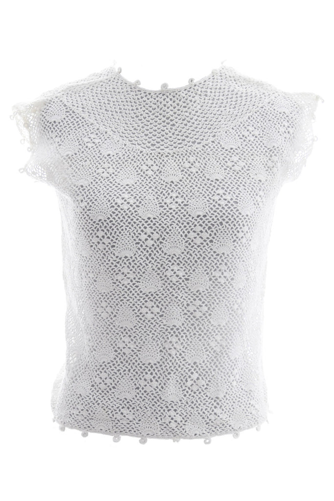 Vintage crochet lace sleeveless top pristine white mint condition - Dressing Vintage