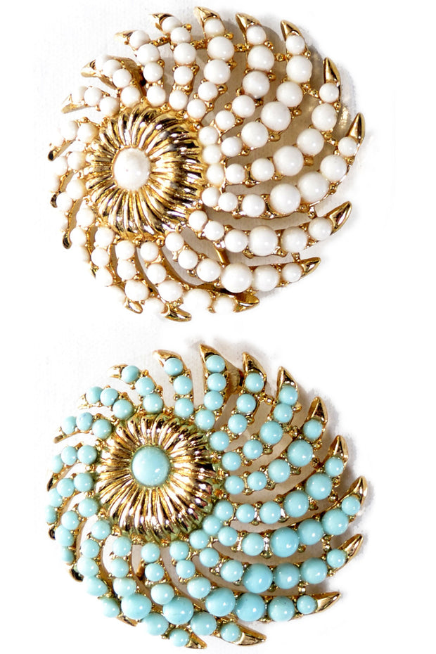 2 Crown Trifari Faux Turquoise and White Vintage 1950's Brooches - Dressing Vintage