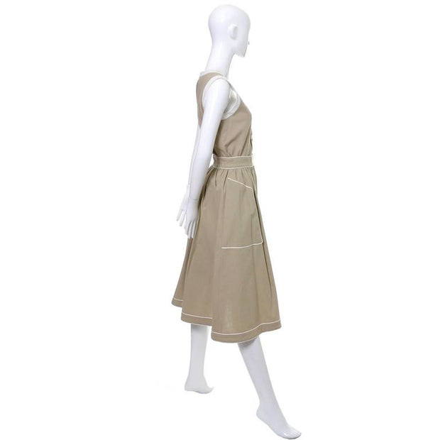 Vintage Valentino tan linen skirt and top dress