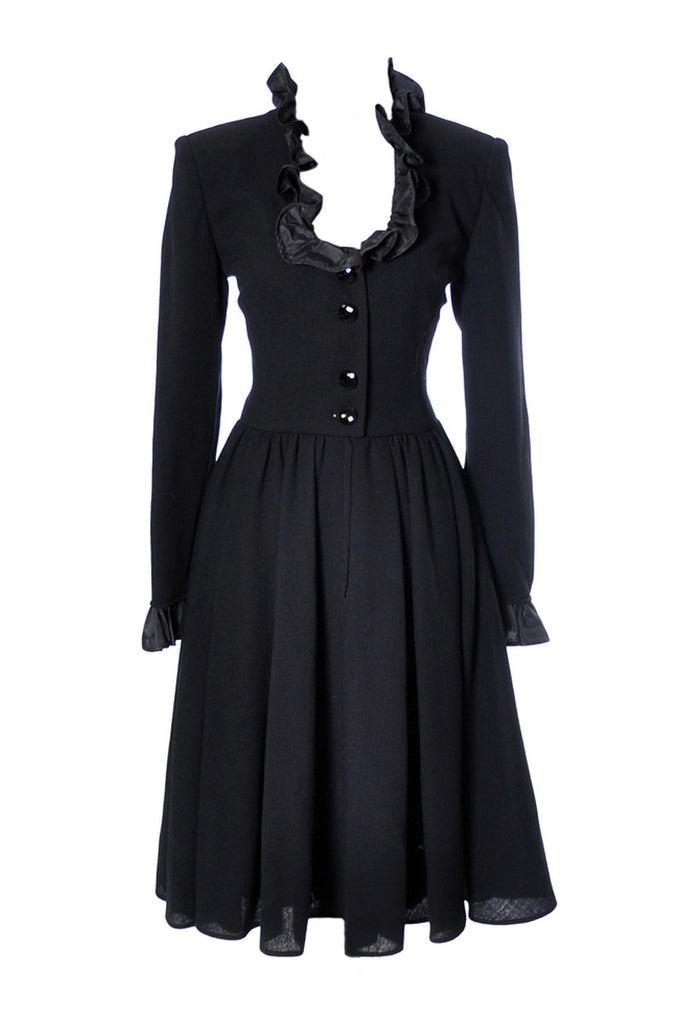 Wool and taffeta black vintage Valentino dress
