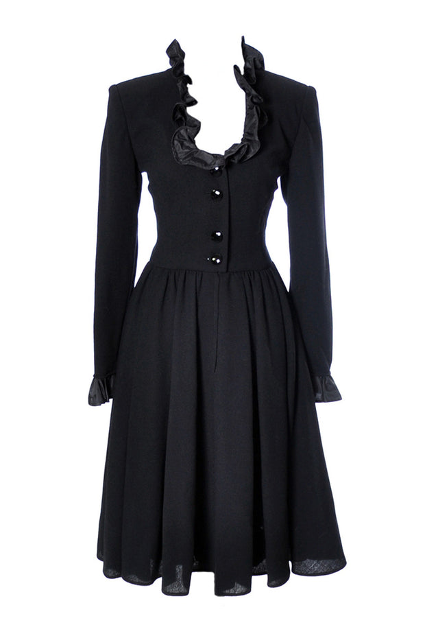 Vintage Valentino Night Black crepe dress - Dressing Vintage