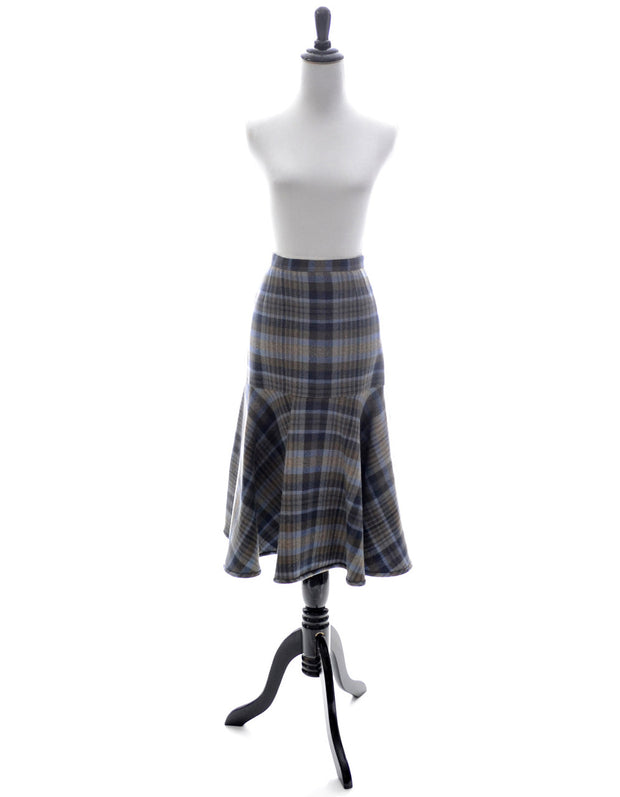 Valentino vintage skirt blue plaid fish tail in mint condition - Dressing Vintage