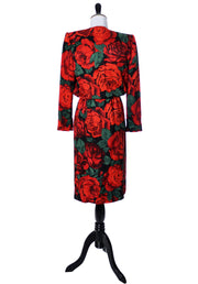 Vintage Valentino silk dress with red roses - Dressing Vintage