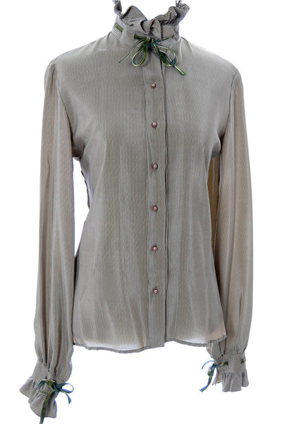Green silk vintage Valentino designer blouse with velvet trim - Dressing Vintage