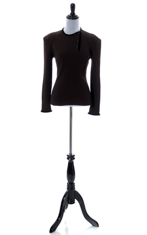 Valentino vintage chocolate brown sweater with velvet trim - Dressing Vintage