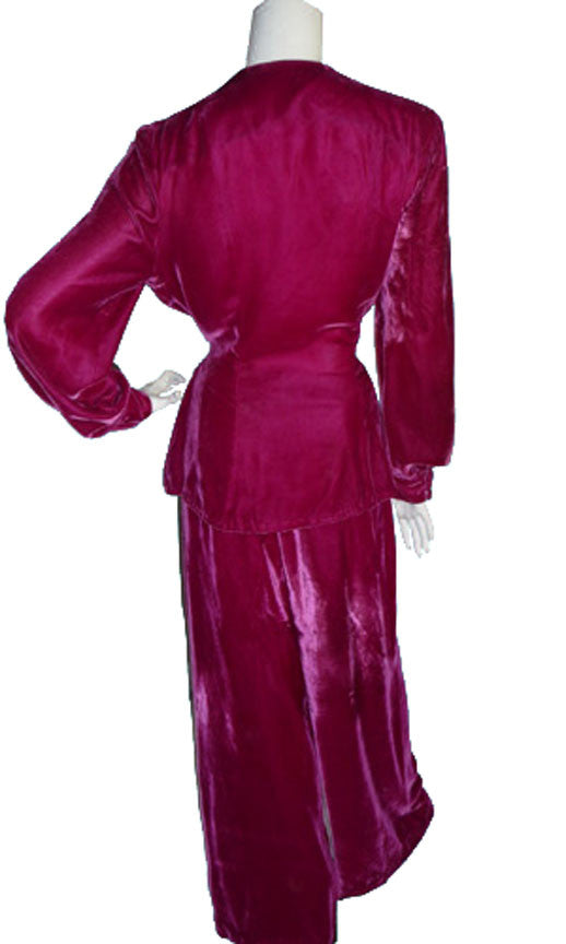 1940's Velvet Vintage Hostess Pajamas with Cut Steel Studs 40B - Dressing Vintage