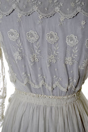 1910s Embroidered Edwardian White Vintage Dress With Lace Trim - Dressing Vintage