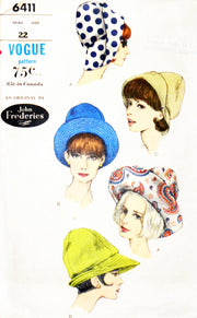 Vintage Vogue 6411 pattern John Frederics 1960s hats - Dressing Vintage